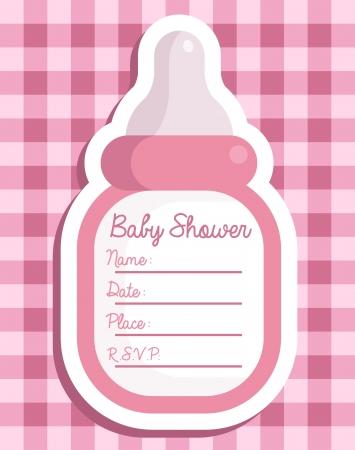 baby girl: Pink baby shower invitation greeting card Illustration