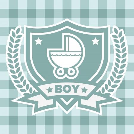 bebe azul: Ducha del beb� de tarjetas de felicitaci�n Invitaci�n azul Vectores