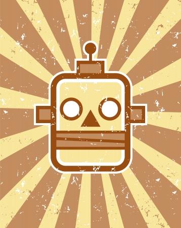 Retro robot testa illustrazione, grunge, scoppio sfondo Archivio Fotografico - 20881465