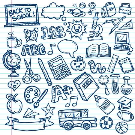 Ensemble de dessins à main levée d'icônes scolaires sur fond de papier ligné