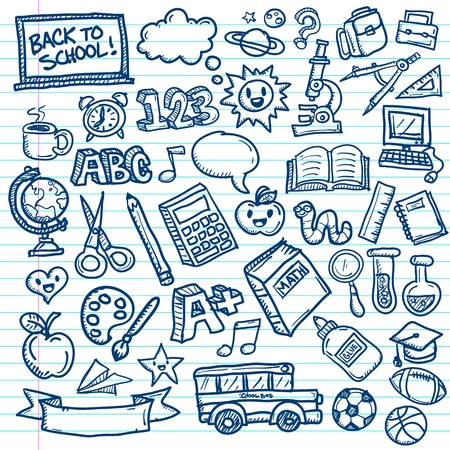 Set of freehand drawings of school icons on lined paper background Vector