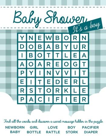 Baby jongen douche uitnodigingskaart met woord puzzel Stock Illustratie