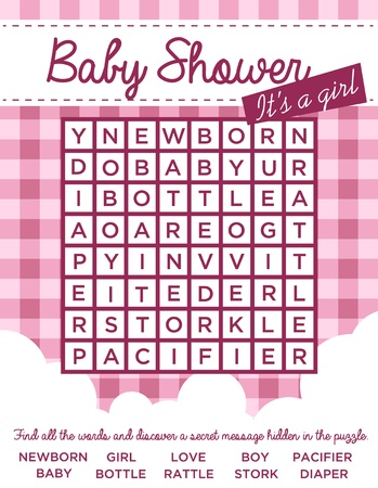 girl: baby girl shower invitation card with word puzzle