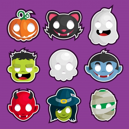 set of Halloween head cartoon stickers Vector