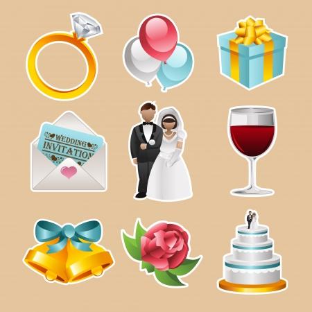 campanas: conjunto de iconos de colores de la boda