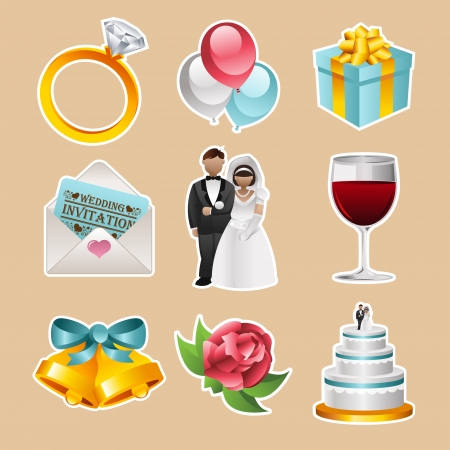 set of colorful wedding icons Vector