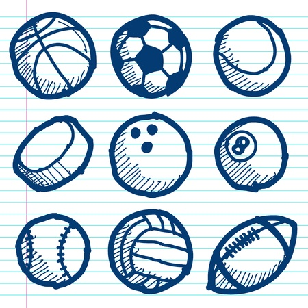 sport balls: Vector set of hand drawn doodle sport balls icons Illustration