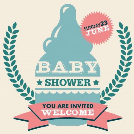 牛乳瓶と赤ちゃんシャワー招待グリーティング カード