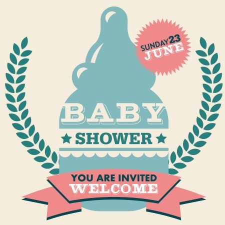 baby girl: Baby shower invitation greeting card with milk bottle Illustration