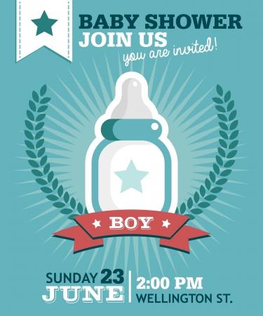 Baby shower invitación tarjeta de felicitación con la botella de leche Foto de archivo - 22095225