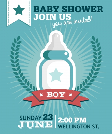 Baby shower invitation greeting card with milk bottle Ilustração