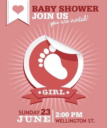 Baby shower invitation greeting card with footprint sticker Vector