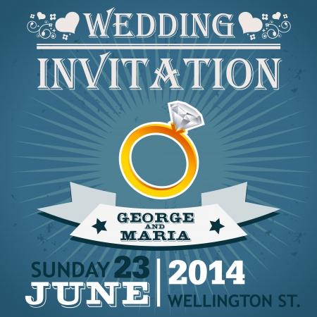 Wedding invitation greeting card with diamond ring