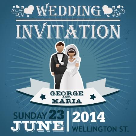 Invitación de la boda tarjeta de felicitación con el novio Foto de archivo - 22095231