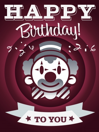 event party festive: Birthday invitation card with confetti and clown Illustration