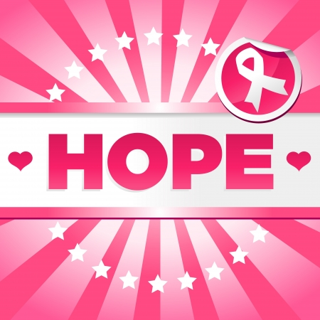 Breast cancer awareness poster with pink ribbon