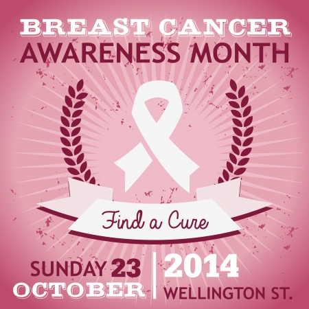 Breast cancer awareness poster with ribbon Illustration