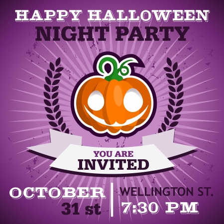 Happy Halloween party invitation card with smiling pumpkin