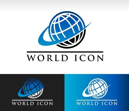 Swoosh world icon with swoosh graphic element Vettoriali
