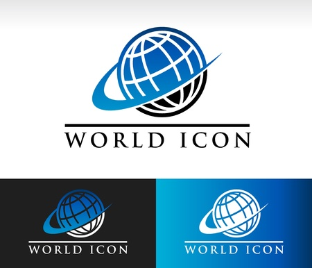 Swoosh wereld icoon met swoosh grafisch element