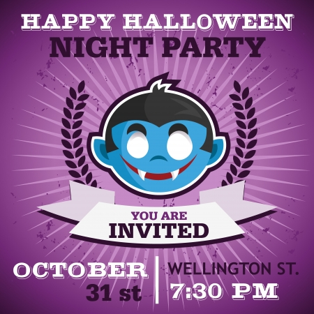 Happy Halloween party invitation card with vampire Иллюстрация