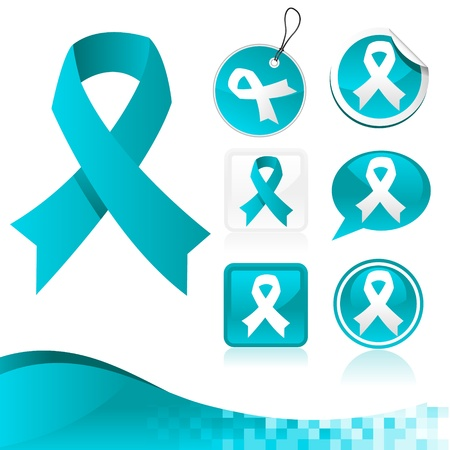 awareness: Vector set of blue awareness ribbons