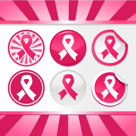 Set of buttons and stickers with pink ribbons for breast cancer awareness Stock Vector - 22470433