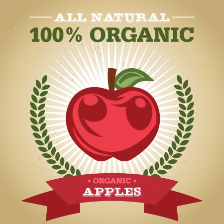 Vintage retro organic fruit design poster with apple icon Vector