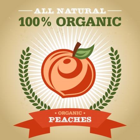 Vintage retro organic fruit design poster with peach icon Ilustração
