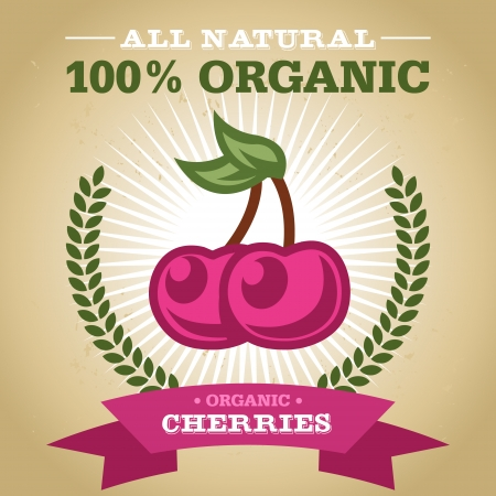 Vintage retro organic fruit design poster with cherry icon Vector