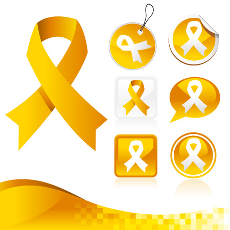 Yellow Awareness Ribbons Kit Vector
