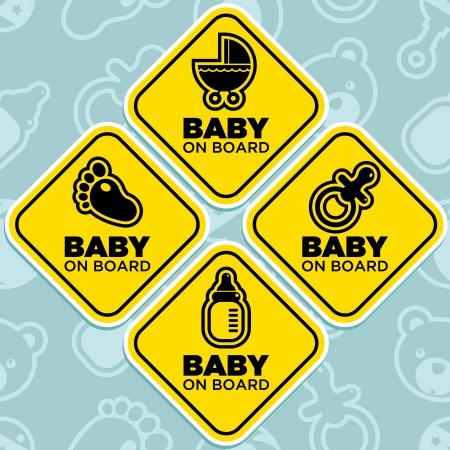bebe a bordo: Vector amarillo beb� en las se�ales de mesa aislada en el fondo sin patr�n Vectores
