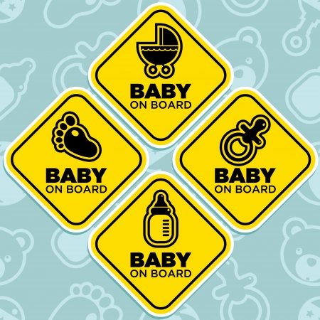 board: Vector yellow baby on board signs isolated on seamless pattern background Illustration