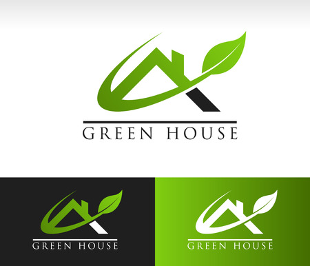 house construction: Green roof house icon with leaf and swoosh graphic element