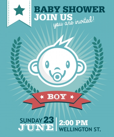 greeting: Baby shower greeting invitation card with baby boy face icon Illustration