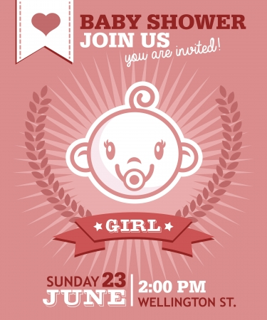 Baby shower greeting invitation card with baby girl face icon Vector