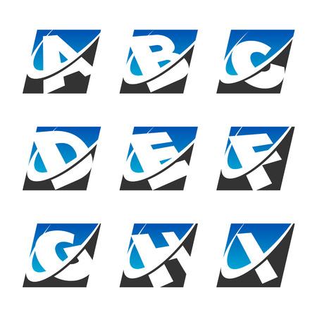 letter c: Alphabet set with swoosh graphic element Set 1