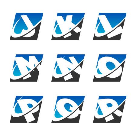 Alphabet set with swoosh graphic element Set 2 Vectores