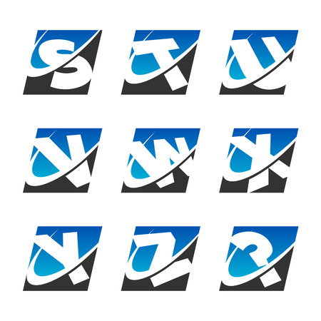 Alphabet set with swoosh graphic element Set 3 Stock Vector - 22470485
