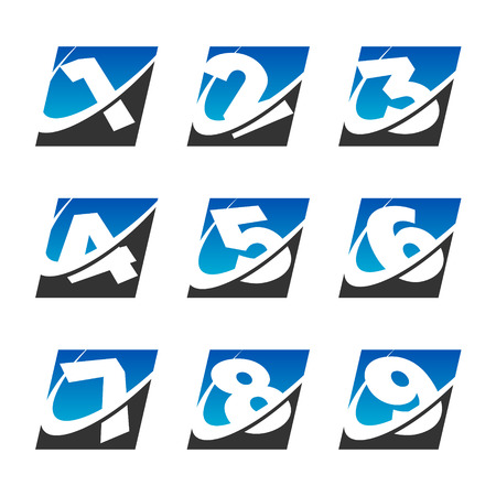Number set with swoosh graphic element Stock Vector - 22470483