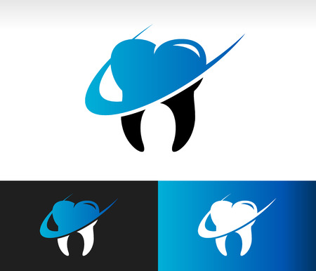 Dental care icon with swoosh graphic element
