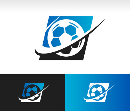 element: Soccer ball icon with swoosh graphic element Illustration