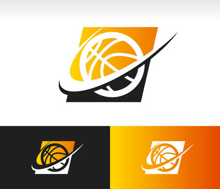Basketball icon with swoosh graphic element