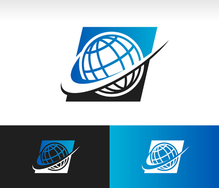 geography: Swoosh world icon with swoosh graphic element Illustration