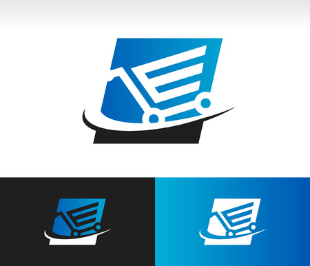 Shopping cart icon with swoosh graphic element