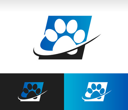 Animal paw icon with swoosh graphic element
