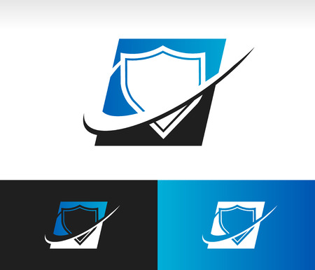 Shield icon with swoosh graphic element