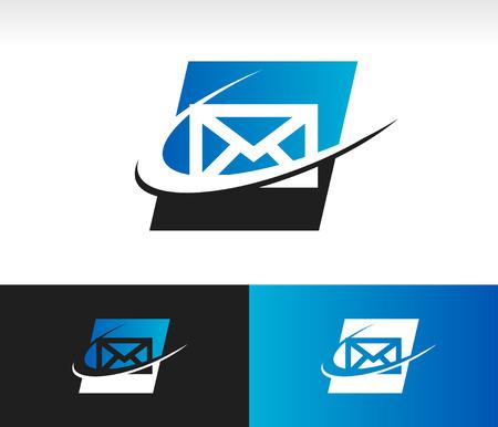 Envelop pictogram met swoosh grafisch element Stockfoto - 22470540