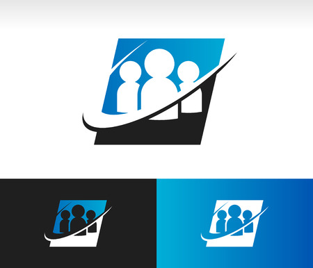 Set of people icon with swoosh graphic element