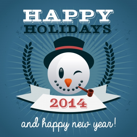 Christmas holiday greeting card with snowman head Stock Vector - 22470543